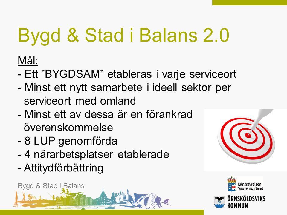 """Mål: - Ett """"BYGDSAM"""" etableras i varje serviceort - Minst ett nytt samarbete i ideell sektor per serviceort med omland - Minst ett av dessa är en föra"""