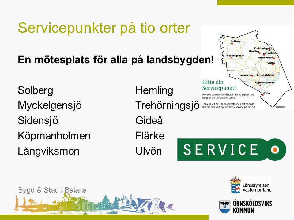 Servicepunkter på tio orter En mötesplats för alla på landsbygden! SolbergHemling MyckelgensjöTrehörningsjö Sidensjö Gideå KöpmanholmenFlärke Långviks