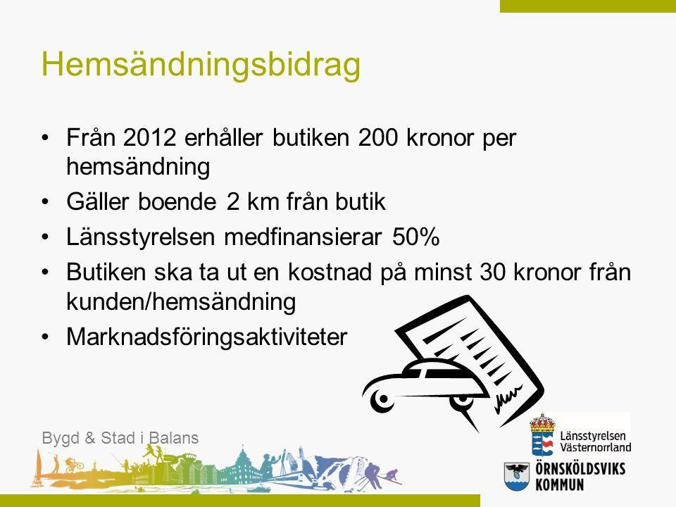Hemsändningsbidrag Från 2012 erhåller butiken 200 kronor per hemsändning Gäller boende 2 km från butik Länsstyrelsen medfinansierar 50% Butiken ska ta
