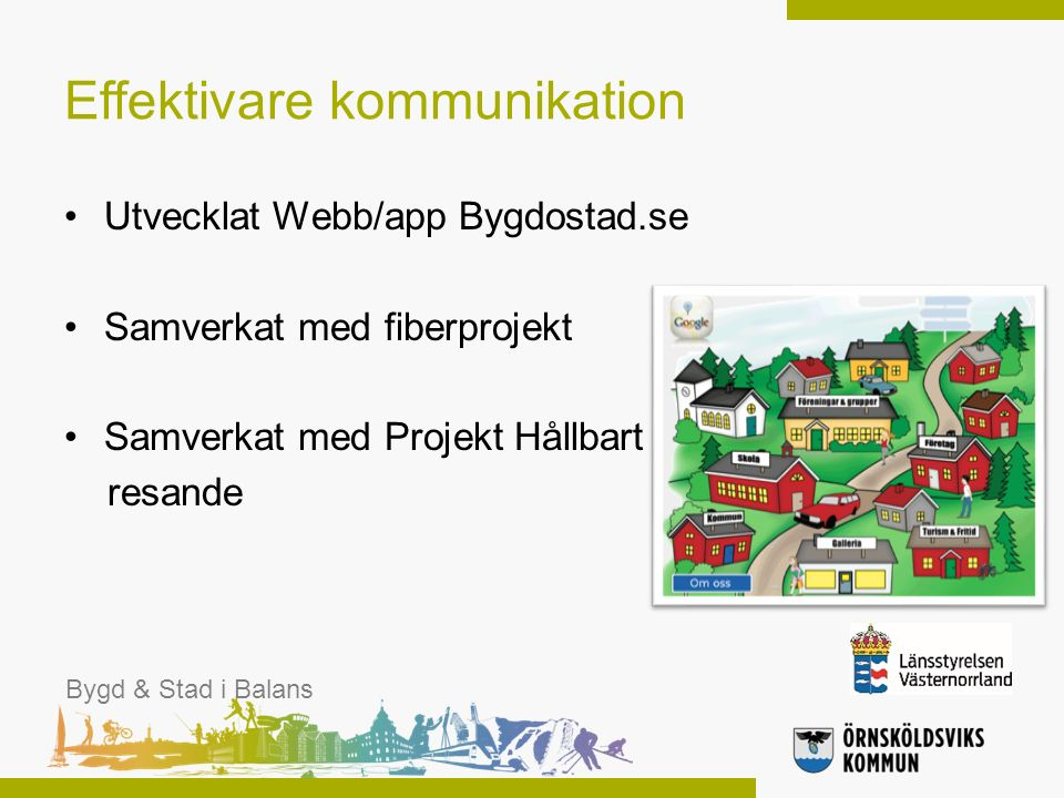 Effektivare kommunikation Utvecklat Webb/app Bygdostad.se Samverkat med fiberprojekt Samverkat med Projekt Hållbart resande Bygd & Stad i Balans