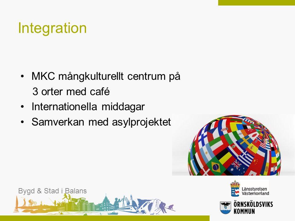 Integration MKC mångkulturellt centrum på 3 orter med café Internationella middagar Samverkan med asylprojektet Bygd & Stad i Balans