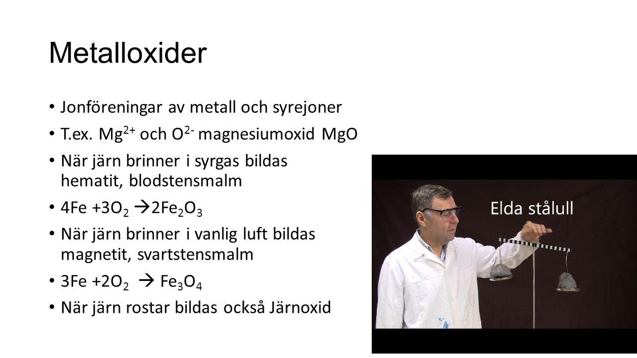 Metalloxider Jonföreningar av metall och syrejoner T.ex. Mg 2+ och O 2- magnesiumoxid MgO När järn brinner i syrgas bildas hematit, blodstensmalm 4Fe