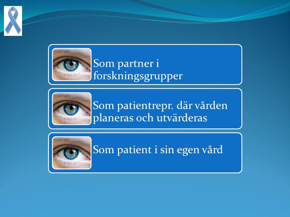 Som partner i forskningsgrupper Som patientrepr.