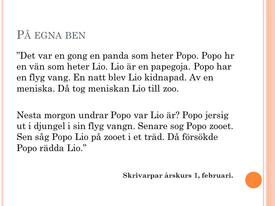P Å EGNA BEN Det var en gong en panda som heter Popo.