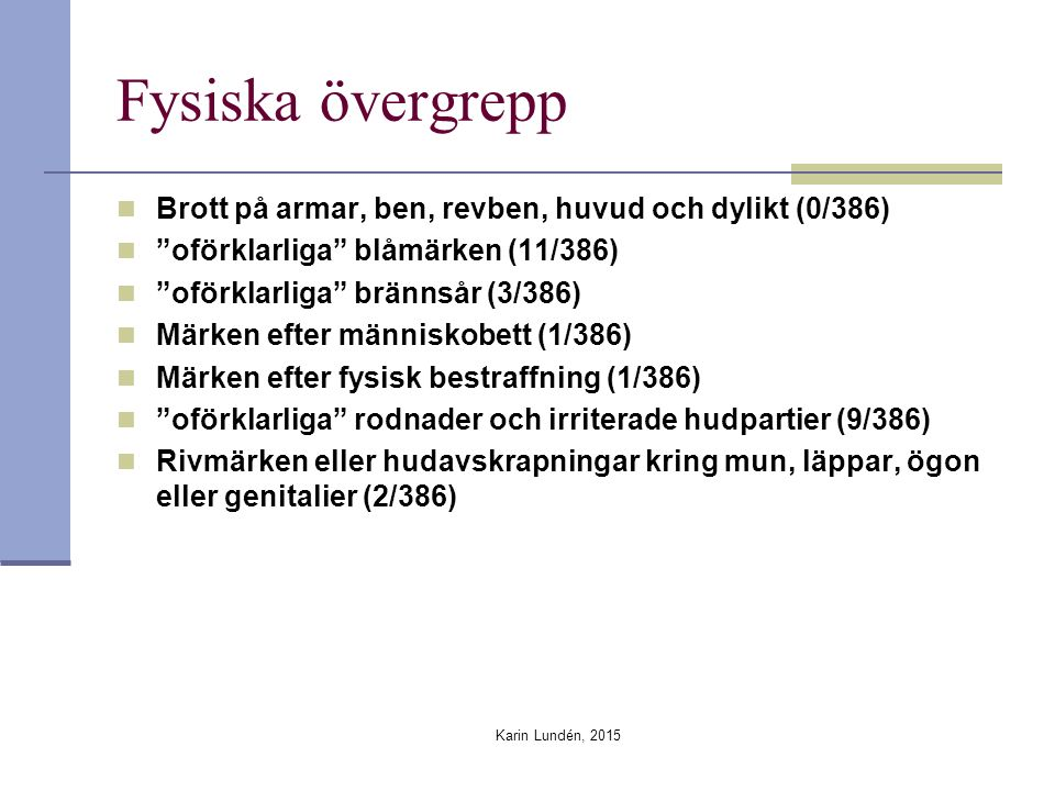 Karin Lundén, 2015 Fysiska övergrepp Brott på armar, ben, revben, huvud och dylikt (0/386) oförklarliga blåmärken (11/386) oförklarliga brännsår (3/386) Märken efter människobett (1/386) Märken efter fysisk bestraffning (1/386) oförklarliga rodnader och irriterade hudpartier (9/386) Rivmärken eller hudavskrapningar kring mun, läppar, ögon eller genitalier (2/386)