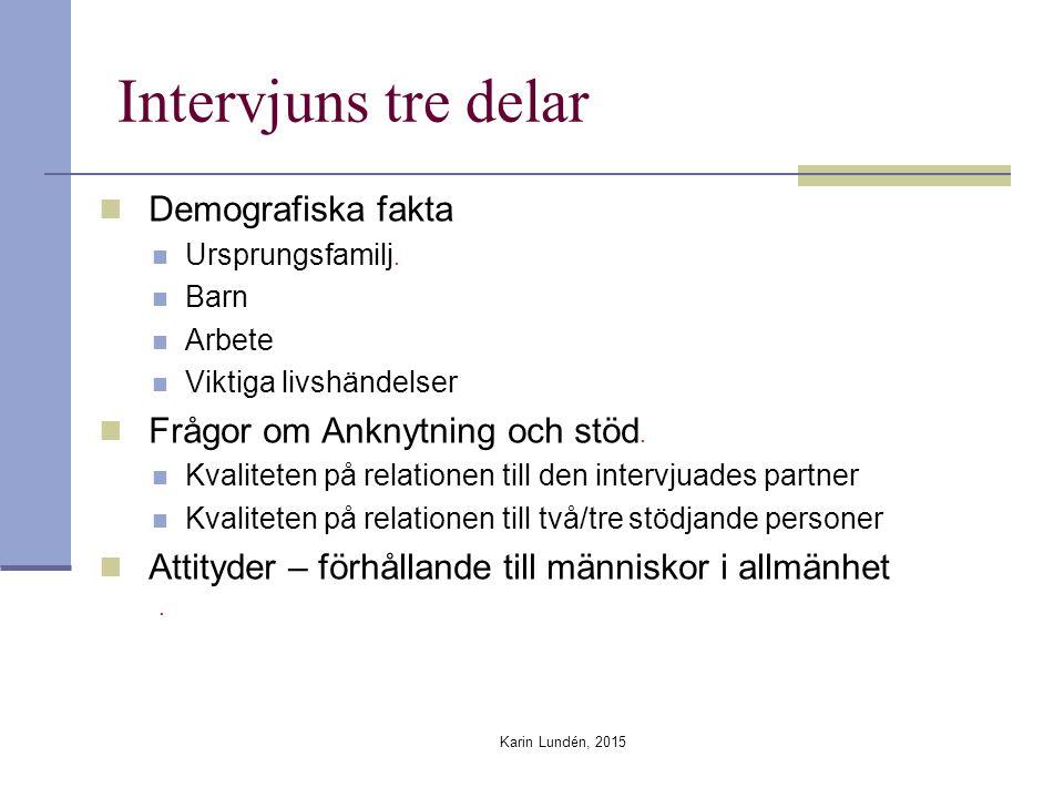 Intervjuns tre delar Demografiska fakta Ursprungsfamilj.