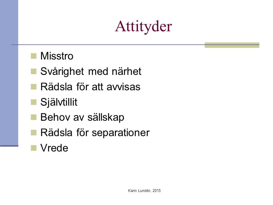 Attityder Misstro Svårighet med närhet Rädsla för att avvisas Självtillit Behov av sällskap Rädsla för separationer Vrede Karin Lundén, 2015
