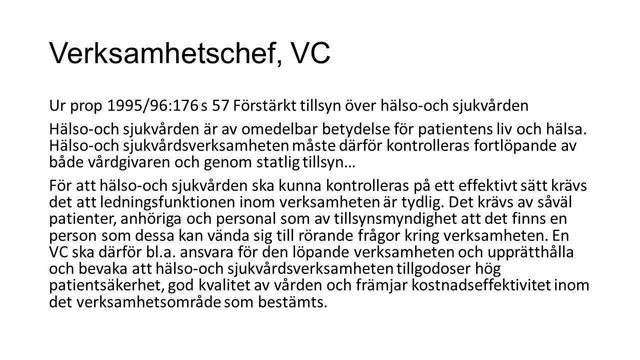 Verksamhetschef, VC Ur prop 1995/96:176 s 57 Förstärkt tillsyn över hälso-och sjukvården Hälso-och sjukvården är av omedelbar betydelse för patientens liv och hälsa.
