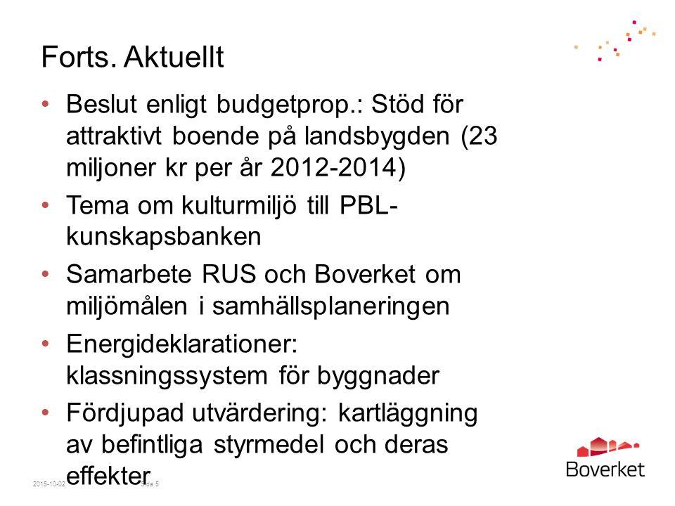 Forts. Aktuellt Beslut enligt budgetprop.: Stöd för attraktivt boende på landsbygden (23 miljoner kr per år 2012-2014) Tema om kulturmiljö till PBL- k