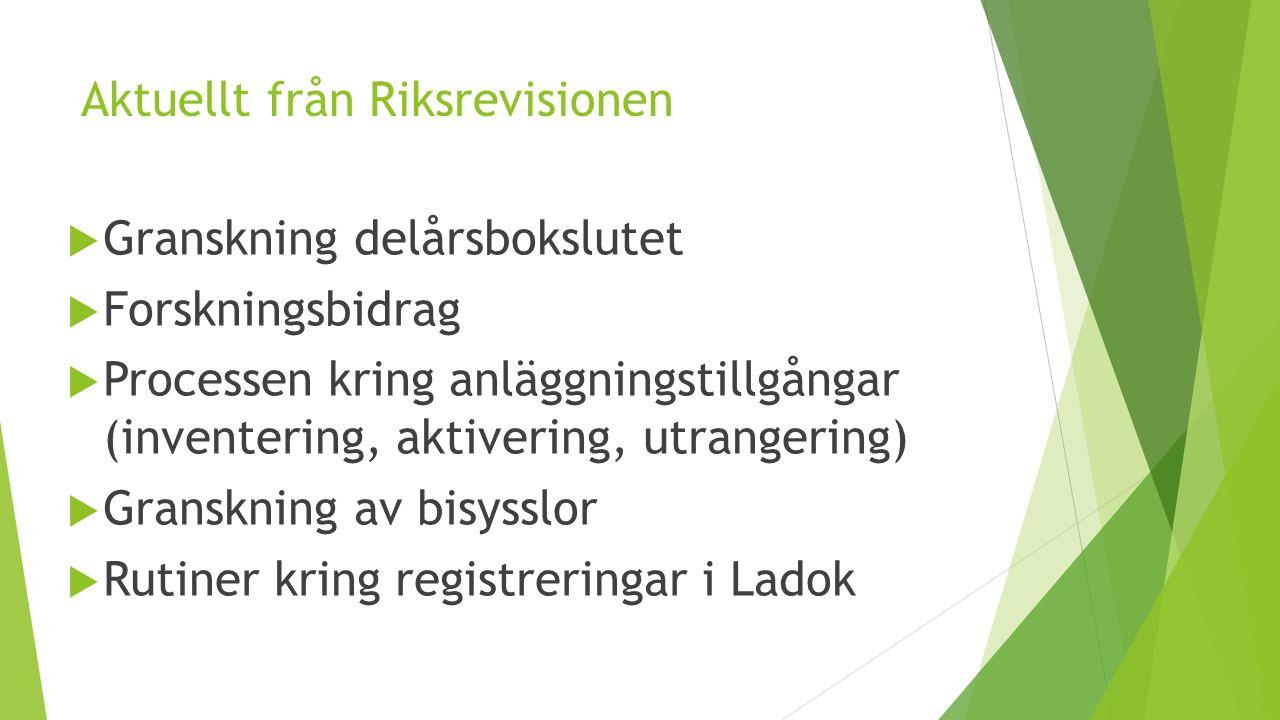 Aktuellt från Riksrevisionen  Granskning delårsbokslutet  Forskningsbidrag  Processen kring anläggningstillgångar (inventering, aktivering, utrangering)  Granskning av bisysslor  Rutiner kring registreringar i Ladok