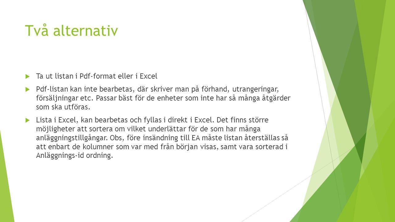 Två alternativ  Ta ut listan i Pdf-format eller i Excel  Pdf-listan kan inte bearbetas, där skriver man på förhand, utrangeringar, försäljningar etc.