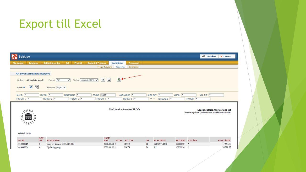 Export till Excel