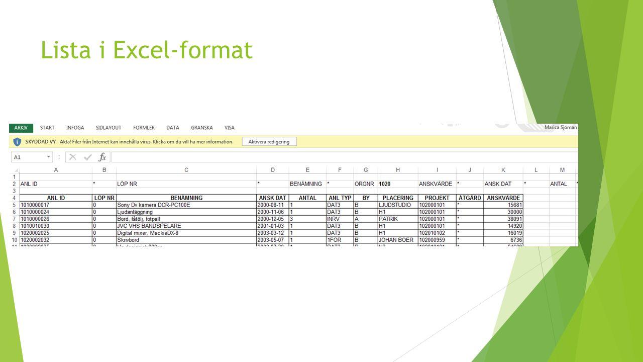 Lista i Excel-format