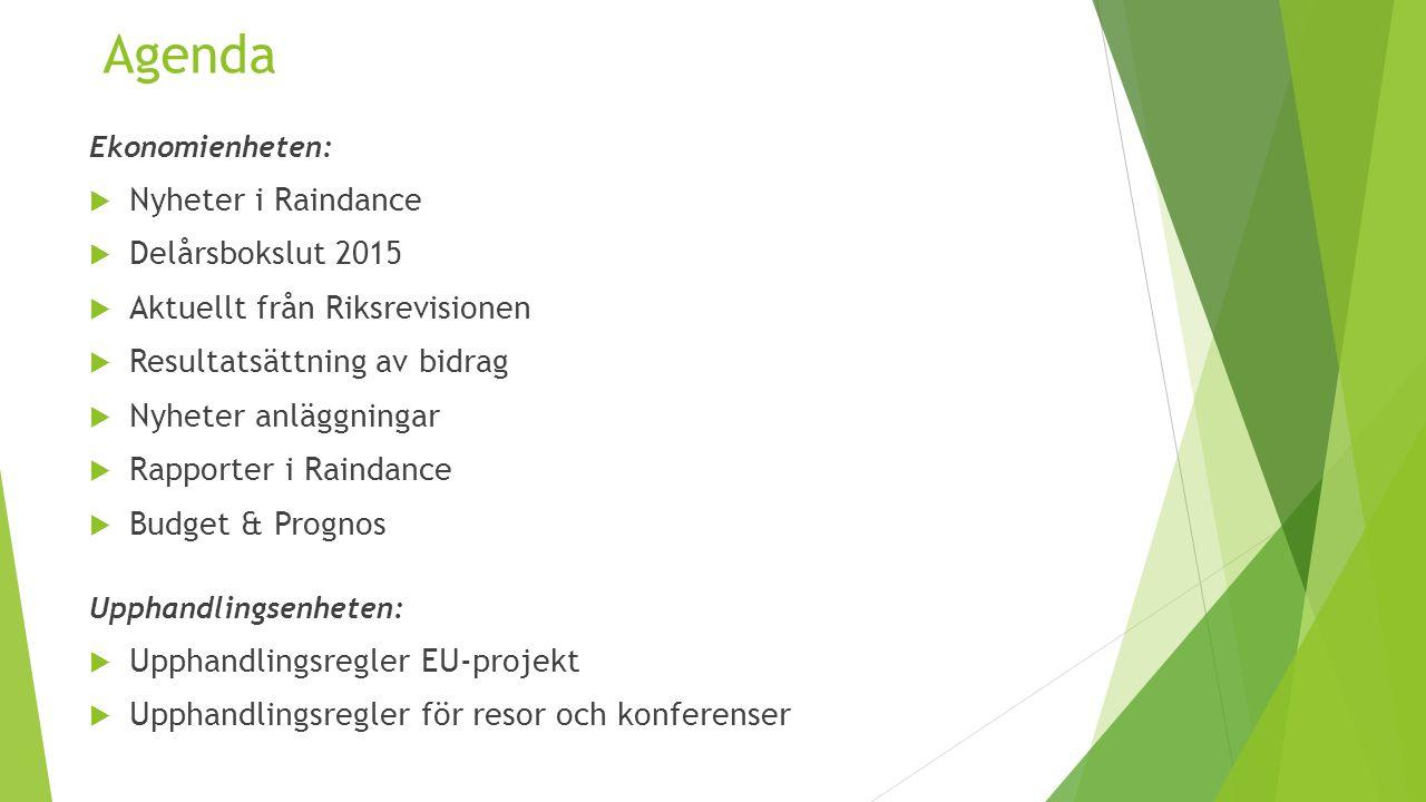 Agenda Ekonomienheten:  Nyheter i Raindance  Delårsbokslut 2015  Aktuellt från Riksrevisionen  Resultatsättning av bidrag  Nyheter anläggningar  Rapporter i Raindance  Budget & Prognos Upphandlingsenheten:  Upphandlingsregler EU-projekt  Upphandlingsregler för resor och konferenser