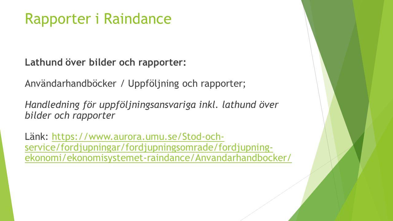Rapporter i Raindance Lathund över bilder och rapporter: Användarhandböcker / Uppföljning och rapporter; Handledning för uppföljningsansvariga inkl.