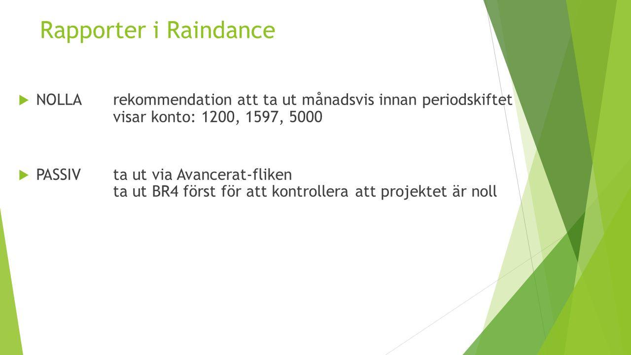 Rapporter i Raindance  NOLLArekommendation att ta ut månadsvis innan periodskiftet visar konto: 1200, 1597, 5000  PASSIVta ut via Avancerat-fliken ta ut BR4 först för att kontrollera att projektet är noll