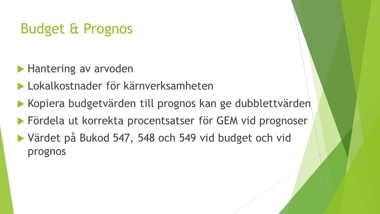 Budget & Prognos  Hantering av arvoden  Lokalkostnader för kärnverksamheten  Kopiera budgetvärden till prognos kan ge dubblettvärden  Fördela ut korrekta procentsatser för GEM vid prognoser  Värdet på Bukod 547, 548 och 549 vid budget och vid prognos