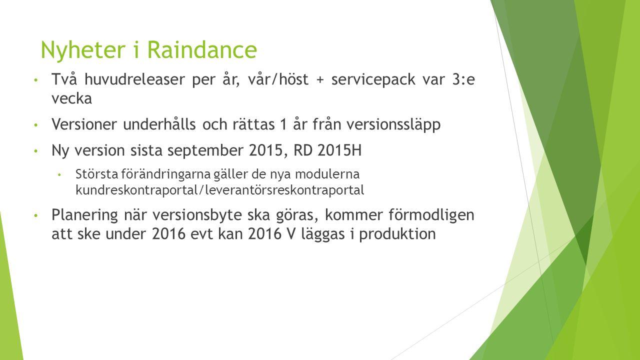 Nyheter i Raindance Två huvudreleaser per år, vår/höst + servicepack var 3:e vecka Versioner underhålls och rättas 1 år från versionssläpp Ny version sista september 2015, RD 2015H Största förändringarna gäller de nya modulerna kundreskontraportal/leverantörsreskontraportal Planering när versionsbyte ska göras, kommer förmodligen att ske under 2016 evt kan 2016 V läggas i produktion