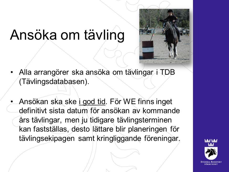 Ansöka om tävling Alla arrangörer ska ansöka om tävlingar i TDB (Tävlingsdatabasen).