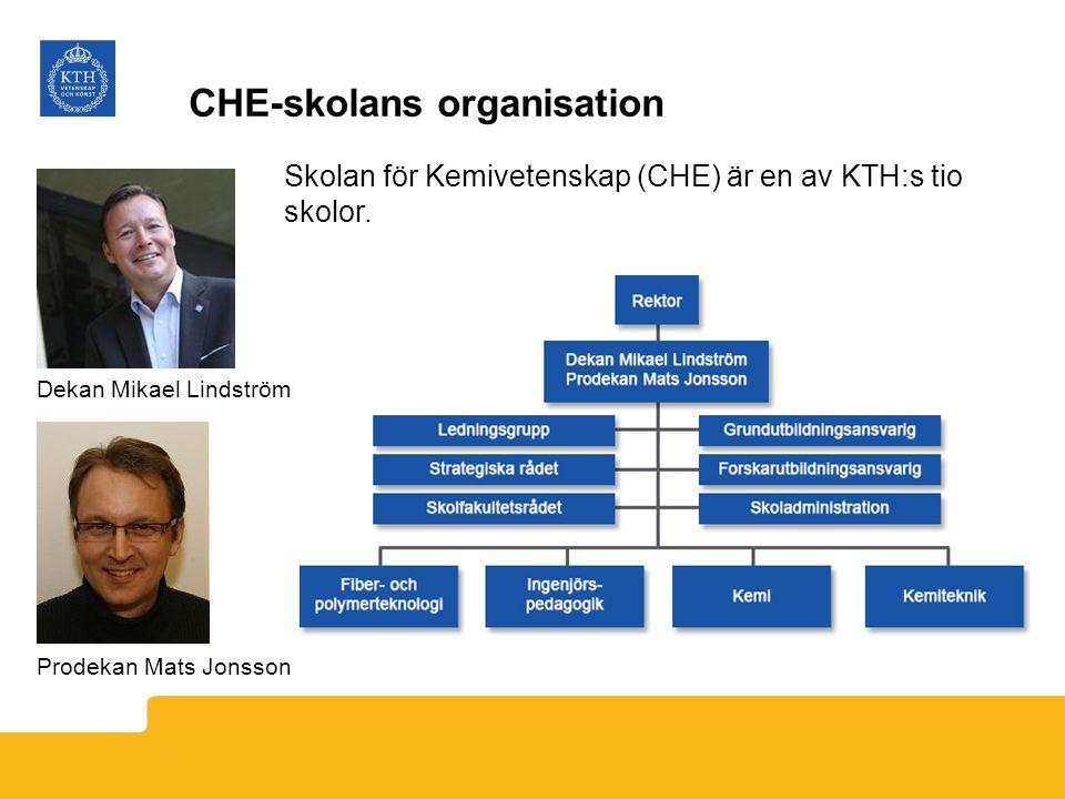CHE-skolans organisation Skolan för Kemivetenskap (CHE) är en av KTH:s tio skolor. Dekan Mikael Lindström Prodekan Mats Jonsson