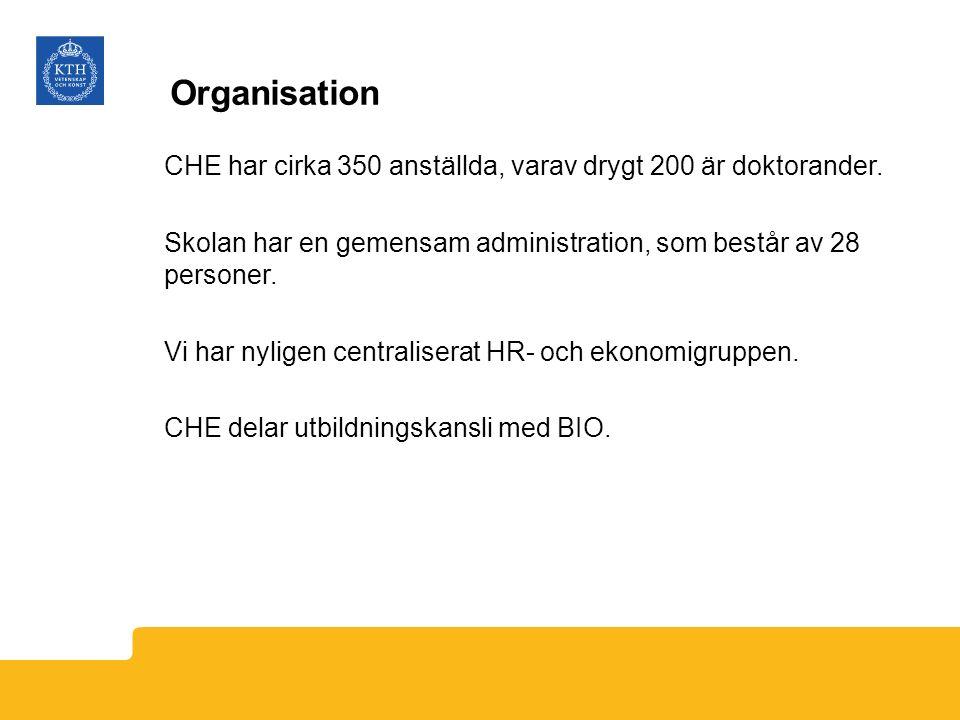Organisation CHE har cirka 350 anställda, varav drygt 200 är doktorander. Skolan har en gemensam administration, som består av 28 personer. Vi har nyl