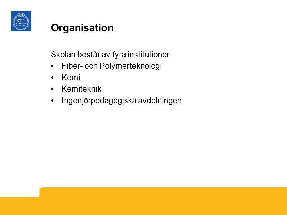 Organisation Skolan består av fyra institutioner: Fiber- och Polymerteknologi Kemi Kemiteknik Ingenjörpedagogiska avdelningen