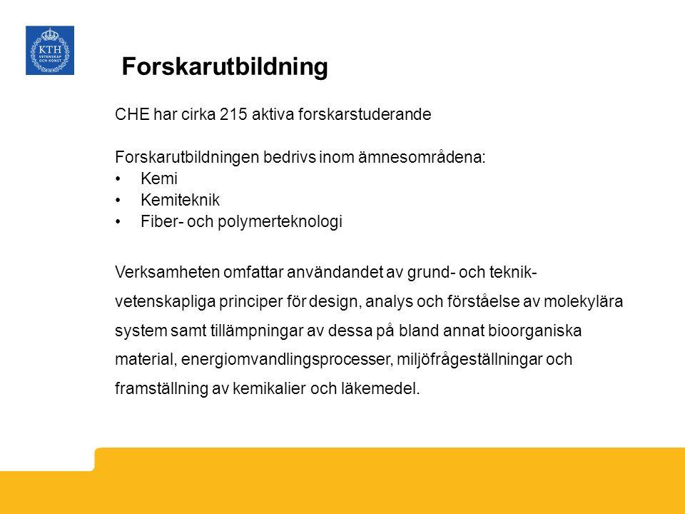 Forskarutbildning CHE har cirka 215 aktiva forskarstuderande Forskarutbildningen bedrivs inom ämnesområdena: Kemi Kemiteknik Fiber- och polymerteknolo