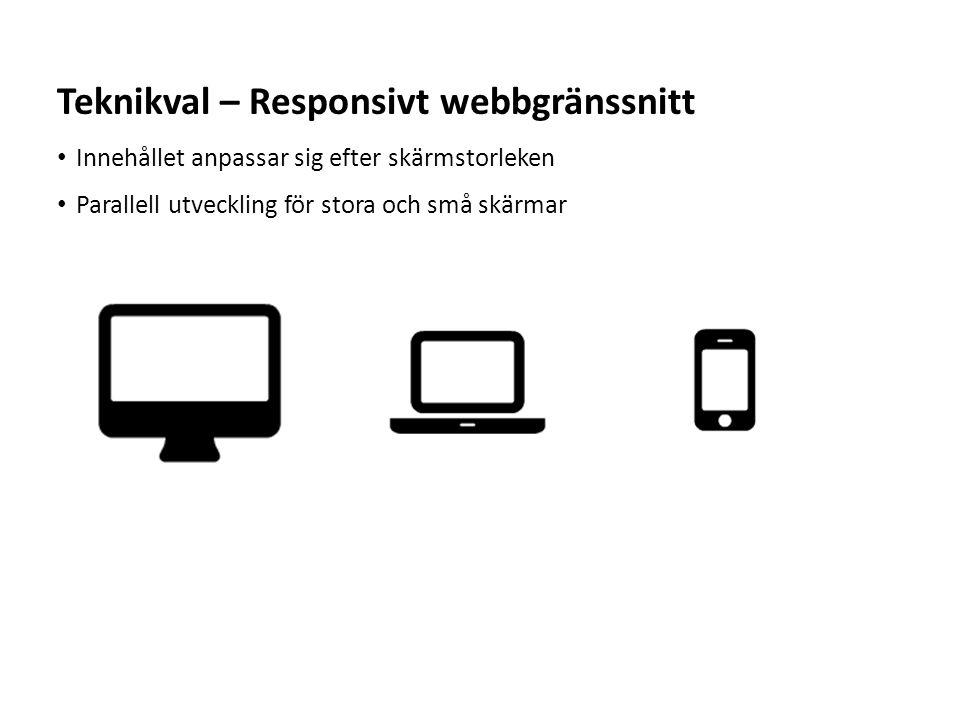 Sv Innehållet anpassar sig efter skärmstorleken Parallell utveckling för stora och små skärmar Teknikval – Responsivt webbgränssnitt