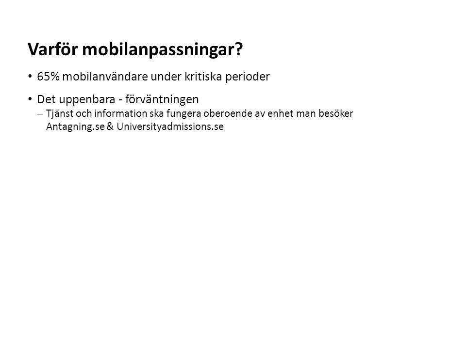 Sv 65% mobilanvändare under kritiska perioder Många upplevde problem med att svara på antagningsbesked i mobilen Varför mobilanpassningar?
