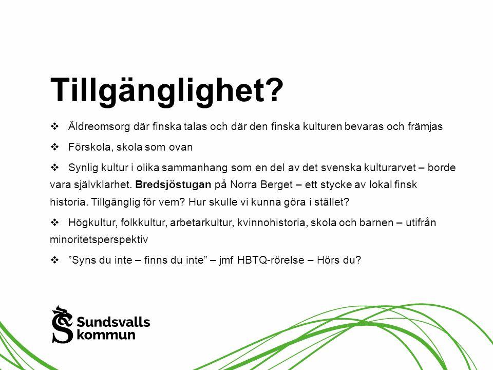 Tillgänglighet?  Äldreomsorg där finska talas och där den finska kulturen bevaras och främjas  Förskola, skola som ovan  Synlig kultur i olika samm
