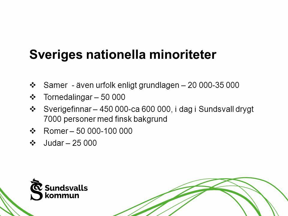 Sveriges nationella minoriteter  Samer - även urfolk enligt grundlagen – 20 000-35 000  Tornedalingar – 50 000  Sverigefinnar – 450 000-ca 600 000,