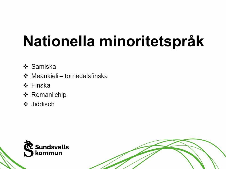 Nationella minoritetspråk  Samiska  Meänkieli – tornedalsfinska  Finska  Romani chip  Jiddisch
