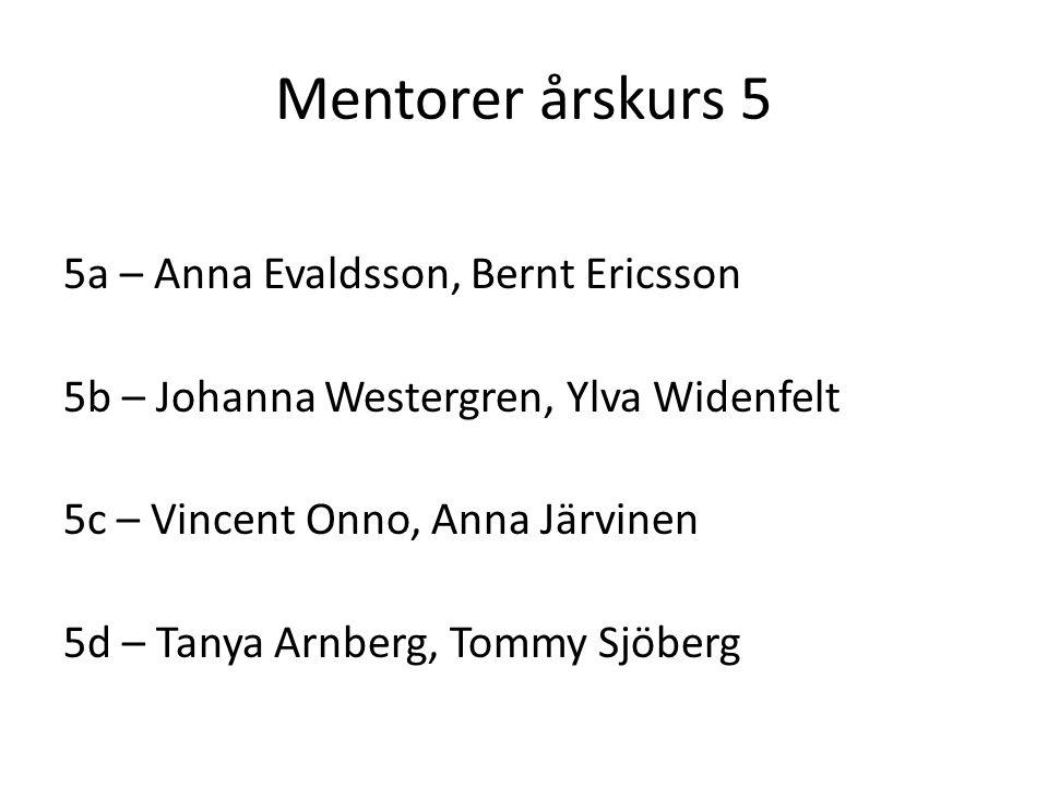 Mentorer årskurs 5 5a – Anna Evaldsson, Bernt Ericsson 5b – Johanna Westergren, Ylva Widenfelt 5c – Vincent Onno, Anna Järvinen 5d – Tanya Arnberg, Tommy Sjöberg