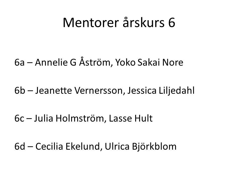 Mentorer årskurs 6 6a – Annelie G Åström, Yoko Sakai Nore 6b – Jeanette Vernersson, Jessica Liljedahl 6c – Julia Holmström, Lasse Hult 6d – Cecilia Ekelund, Ulrica Björkblom