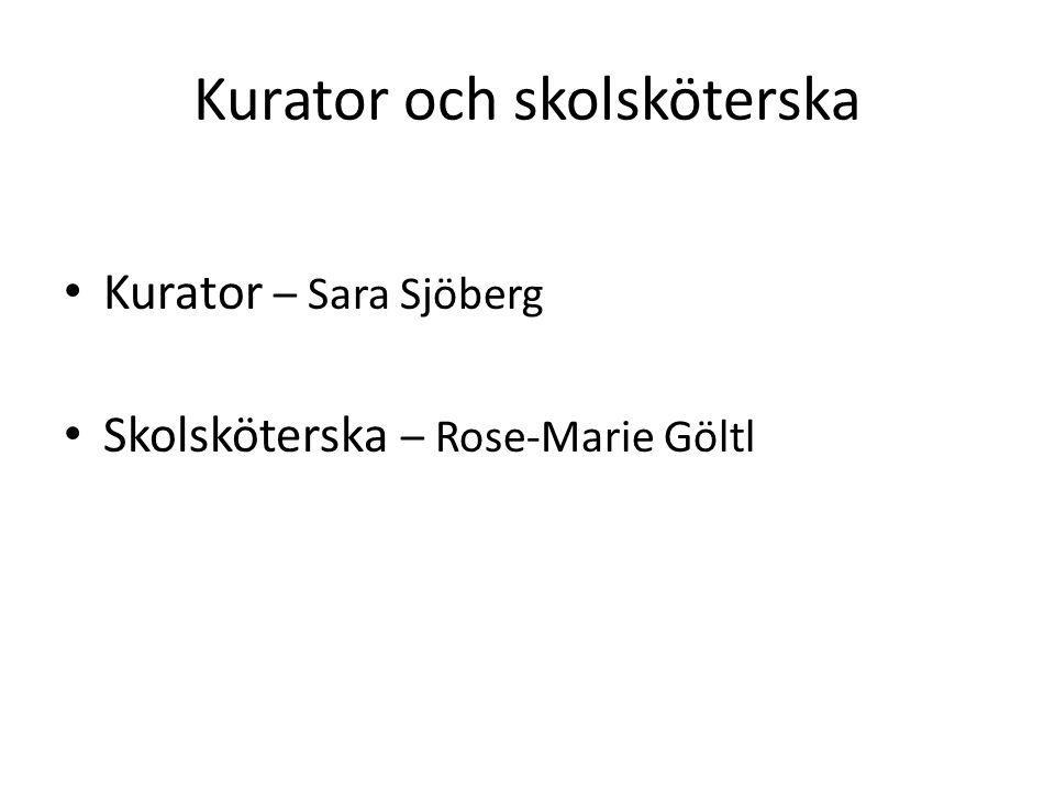 Kurator och skolsköterska Kurator – Sara Sjöberg Skolsköterska – Rose-Marie Göltl
