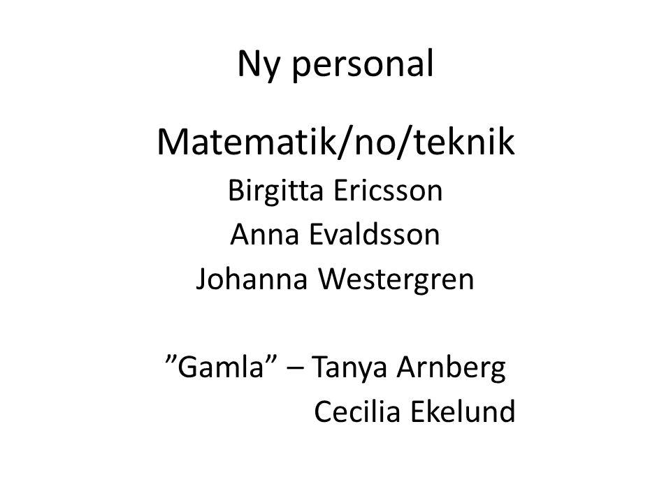 Ny personal Matematik/no/teknik Birgitta Ericsson Anna Evaldsson Johanna Westergren Gamla – Tanya Arnberg Cecilia Ekelund