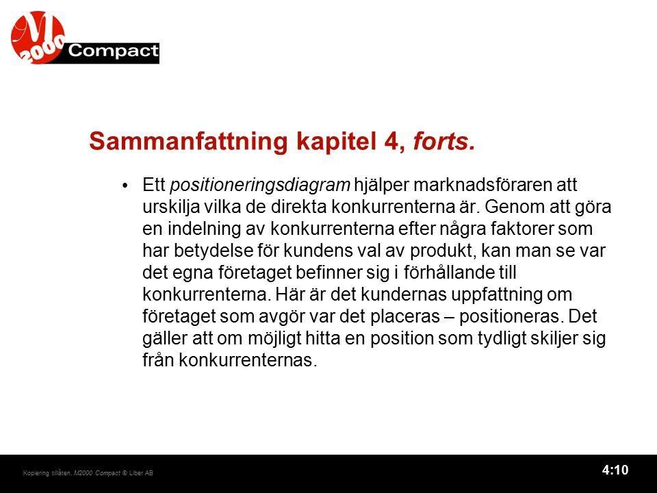 4:10 Kopiering tillåten. M2000 Compact © Liber AB Sammanfattning kapitel 4, forts. Ett positioneringsdiagram hjälper marknadsföraren att urskilja vilk