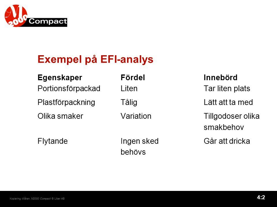 4:2 Kopiering tillåten. M2000 Compact © Liber AB Exempel på EFI-analys EgenskaperFördelInnebörd PortionsförpackadLitenTar liten plats Plastförpackning