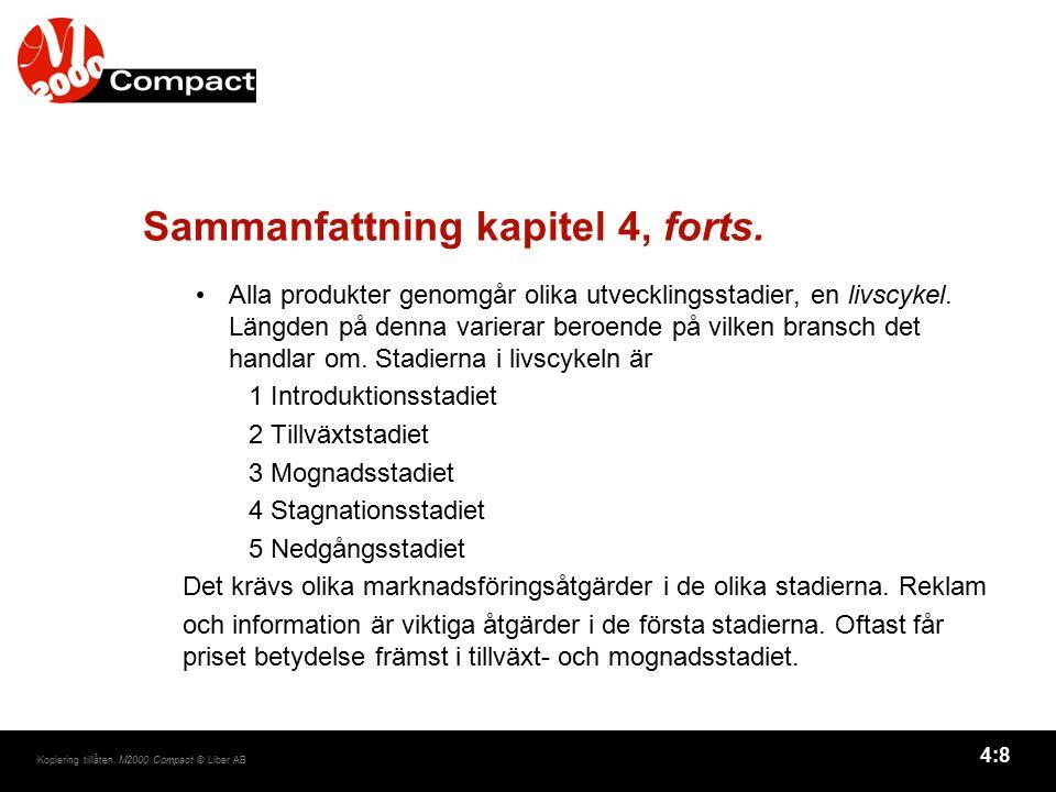 4:8 Kopiering tillåten. M2000 Compact © Liber AB Sammanfattning kapitel 4, forts. Alla produkter genomgår olika utvecklingsstadier, en livscykel. Läng
