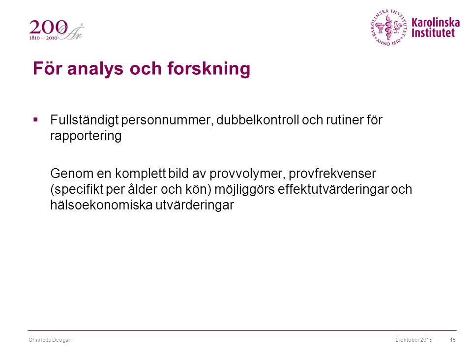 2 oktober 2015Charlotte Deogan15 För analys och forskning  Fullständigt personnummer, dubbelkontroll och rutiner för rapportering Genom en komplett bild av provvolymer, provfrekvenser (specifikt per ålder och kön) möjliggörs effektutvärderingar och hälsoekonomiska utvärderingar