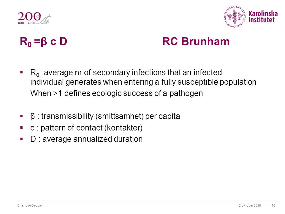 R 0 =β c D RC Brunham  R 0 : average nr of secondary infections that an infected individual generates when entering a fully susceptible population When >1 defines ecologic success of a pathogen  β : transmissibility (smittsamhet) per capita  c : pattern of contact (kontakter)  D : average annualized duration 2 oktober 2015Charlotte Deogan16