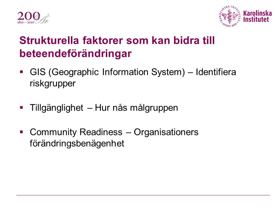 Strukturella faktorer som kan bidra till beteendeförändringar  GIS (Geographic Information System) – Identifiera riskgrupper  Tillgänglighet – Hur nås målgruppen  Community Readiness – Organisationers förändringsbenägenhet