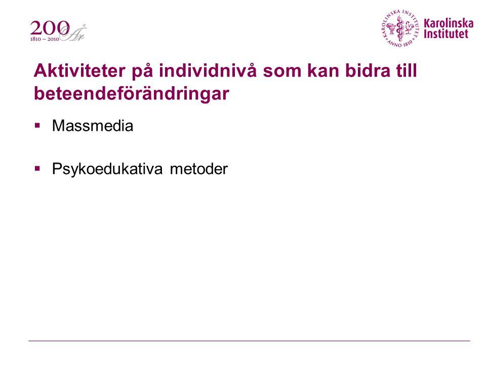 Aktiviteter på individnivå som kan bidra till beteendeförändringar  Massmedia  Psykoedukativa metoder