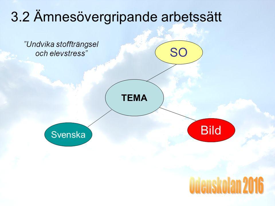 3.2 Ämnesövergripande arbetssätt Undvika stoffträngsel och elevstress TEMA SO Svenska Bild