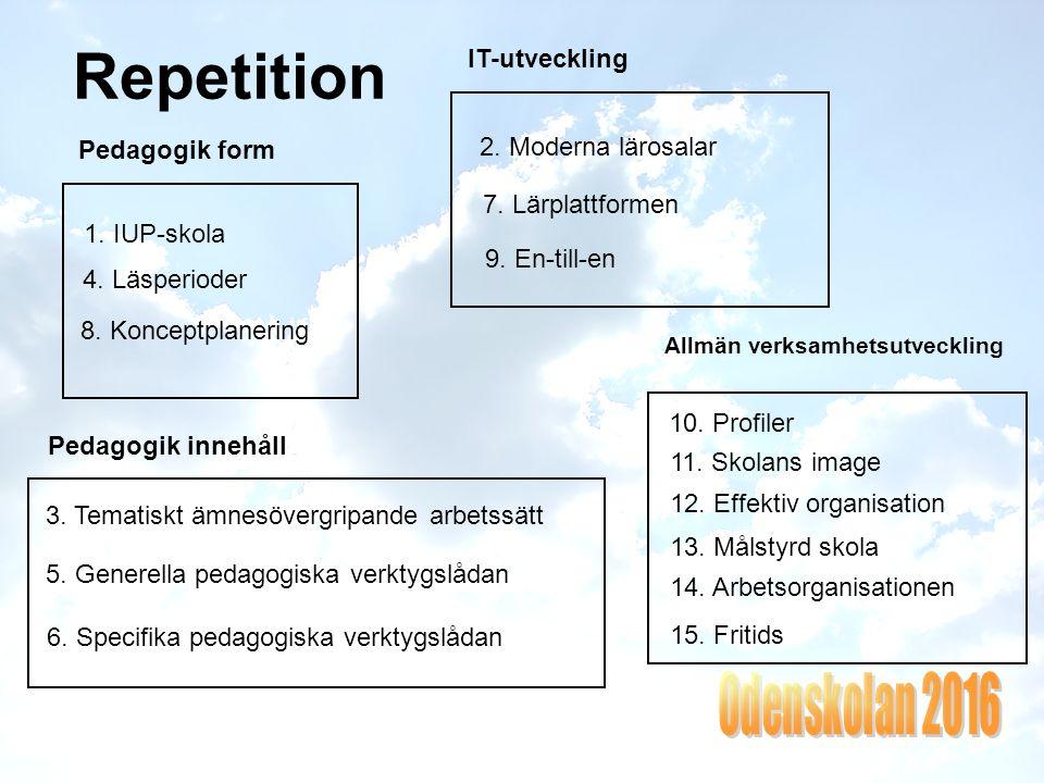 Repetition 2.Moderna lärosalar 7. Lärplattformen 9.