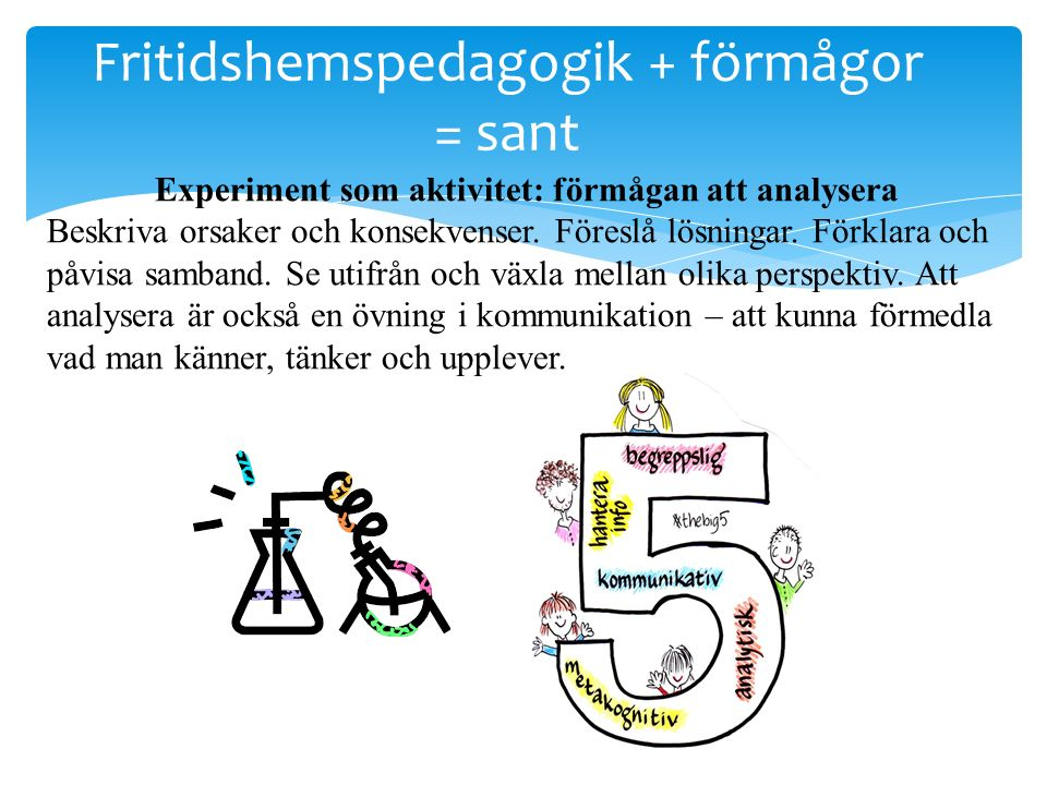 Fritidshemspedagogik + förmågor = sant Experiment som aktivitet: förmågan att analysera Beskriva orsaker och konsekvenser. Föreslå lösningar. Förklara