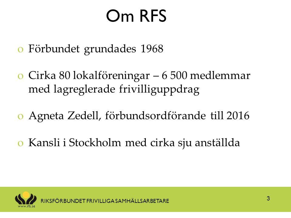 www.rfs.se RIKSFÖRBUNDET FRIVILLIGA SAMHÄLLSARBETARE 3 oFörbundet grundades 1968 oCirka 80 lokalföreningar – 6 500 medlemmar med lagreglerade frivilliguppdrag oAgneta Zedell, förbundsordförande till 2016 oKansli i Stockholm med cirka sju anställda Om RFS