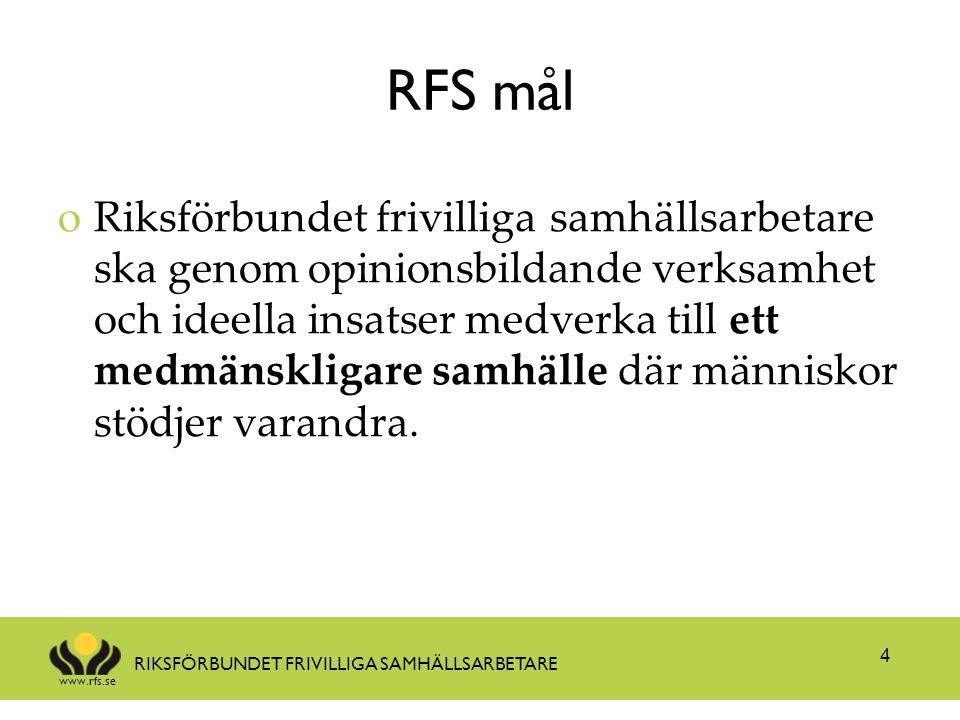 www.rfs.se RIKSFÖRBUNDET FRIVILLIGA SAMHÄLLSARBETARE RFS mål oRiksförbundet frivilliga samhällsarbetare ska genom opinionsbildande verksamhet och ideella insatser medverka till ett medmänskligare samhälle där människor stödjer varandra.