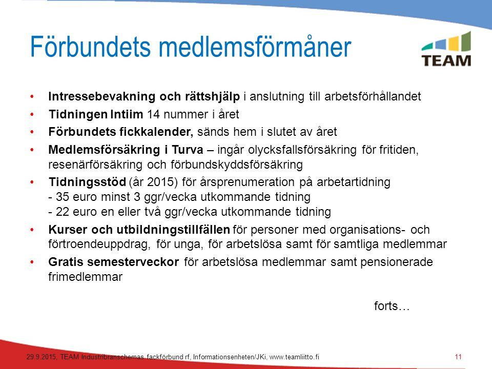 Förbundets medlemsförmåner Intressebevakning och rättshjälp i anslutning till arbetsförhållandet Tidningen Intiim 14 nummer i året Förbundets fickkalender, sänds hem i slutet av året Medlemsförsäkring i Turva – ingår olycksfallsförsäkring för fritiden, resenärförsäkring och förbundskyddsförsäkring Tidningsstöd (år 2015) för årsprenumeration på arbetartidning - 35 euro minst 3 ggr/vecka utkommande tidning - 22 euro en eller två ggr/vecka utkommande tidning Kurser och utbildningstillfällen för personer med organisations- och förtroendeuppdrag, för unga, för arbetslösa samt för samtliga medlemmar Gratis semesterveckor för arbetslösa medlemmar samt pensionerade frimedlemmar forts… 29.9.2015, TEAM Industribranschernas fackförbund rf, Informationsenheten/JKi, www.teamliitto.fi11