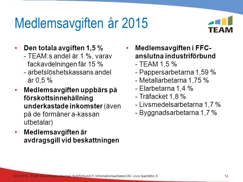 Medlemsavgiften år 2015 Den totala avgiften 1,5 % - TEAM:s andel är 1 %, varav fackavdelningen får 15 % - arbetslöshetskassans andel är 0,5 % Medlemsavgiften uppbärs på förskottsinnehållning underkastade inkomster (även på de förmåner a-kassan utbetalar) Medlemsavgiften är avdragsgill vid beskattningen Medlemsavgiften i FFC- anslutna industriförbund - TEAM 1,5 % - Pappersarbetarna 1,59 % - Metallarbetarna 1,75 % - Elarbetarna 1,4 % - Träfacket 1,8 % - Livsmedelsarbetarna 1,7 % - Byggnadsarbetarna 1,7 % 29.9.2015, TEAM Industribranschernas fackförbund rf, Informationsenheten/JKi, www.teamliitto.fi14